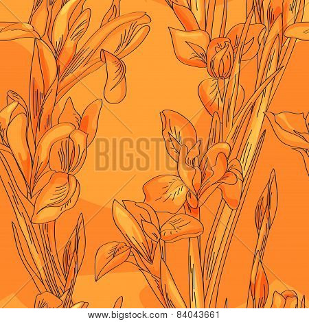 Seamless Orange Irises