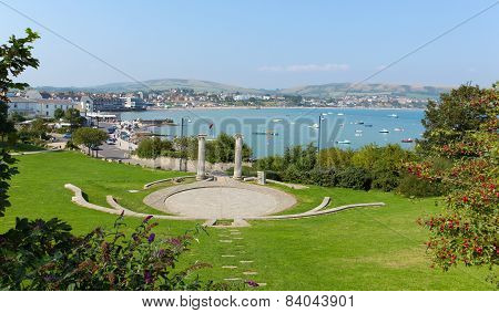Swanage Dorset England UK Prince Albert Gardens with amphitheatre and park
