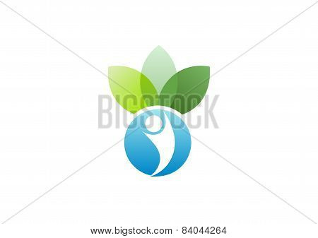 Wellness beauty spa logo, nature people health care symbol icon design vector