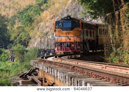 Trains Running On Death Railways Track Crossing Kwai River In Kanchanaburi Thailand This Railways Im