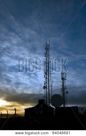 Transmission Tower On Knockanore Hill At Dusk