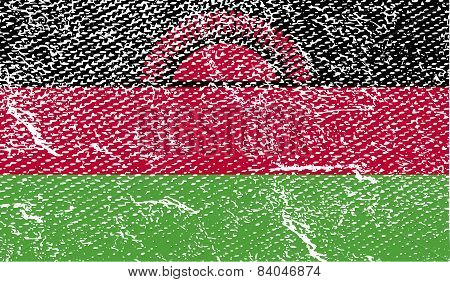 Flag Of Malawi With Old Texture. Vector