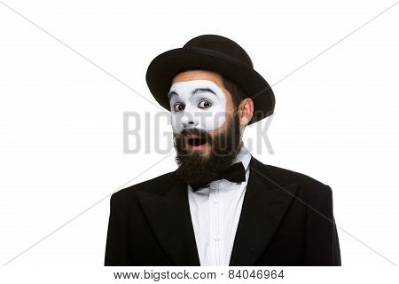 Portrait of the surprised mime with open mouth