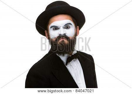Portrait  of a contemptuous man in makeup mime