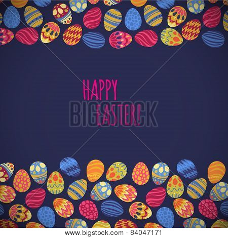 Eastern Eggs. Vector Illustration. Vector  Pattern With Colorful Eggs