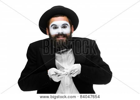 mime as businessman holding money