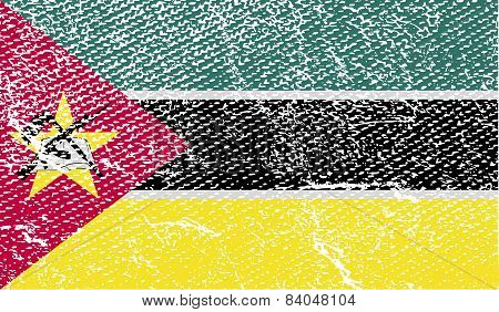 Flag Of Mozambique With Old Texture. Vector