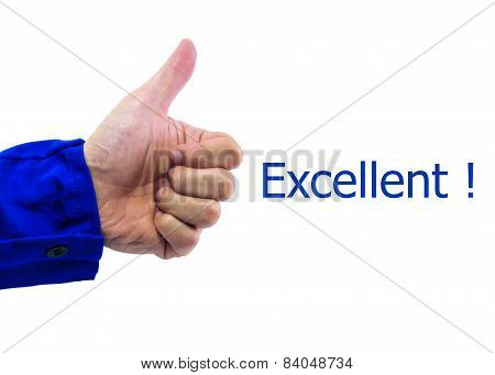Real Hand Of  Thumbs Up Sign On White Background