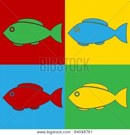 Pop Art Fish Symbol Icons.