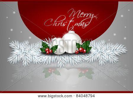Silver Merry Christmas Card