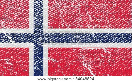 Flag Of Norway With Old Texture. Vector
