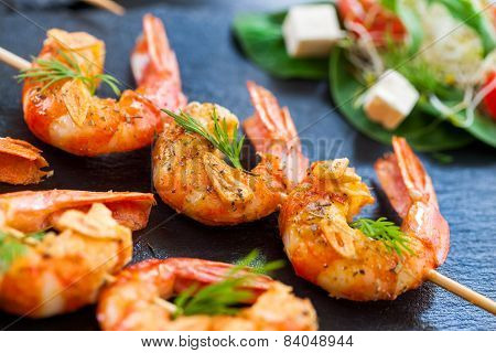 Giant Shrimp Skewers.