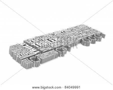3D Words Shaping A Truck With Trailer Aerial Front