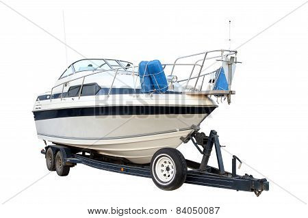 Modern Powerboat On The Trailer For Transportation