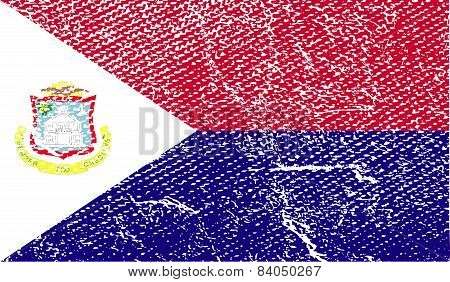 Flag Of Saint Martin With Old Texture. Vector