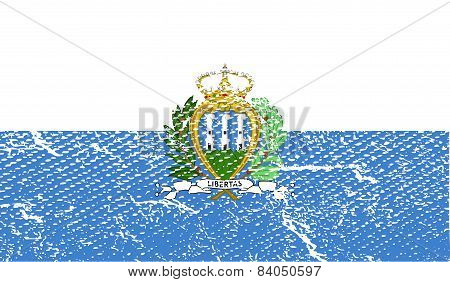 Flag Of San Marino With Old Texture. Vector
