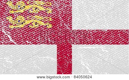 Flag Of Sark With Old Texture. Vector