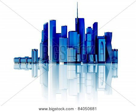 3D City Isolated On Mirror Floor