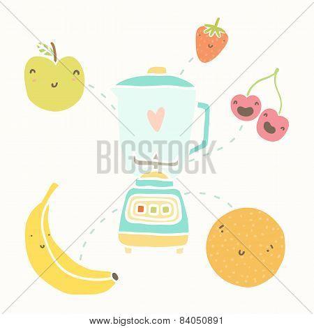 Blender and funny fruits.