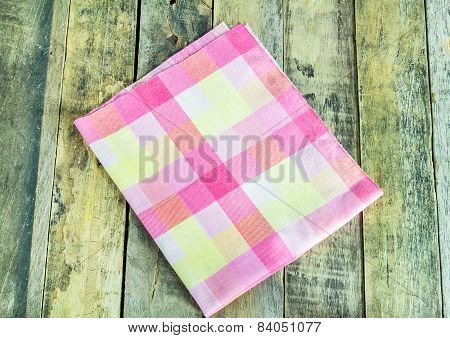 Close Up Napkin On Wooden Background