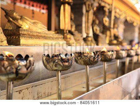 oil lamp in Wat Phrathat Doi Suthep,thailand