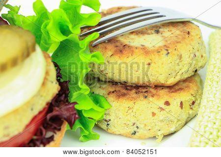 Vegan Sea Burger Patties Closeup On White Background