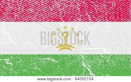 Flag Of Tajikistan With Old Texture. Vector