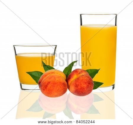 Peach Juice In A Glass With Peaches