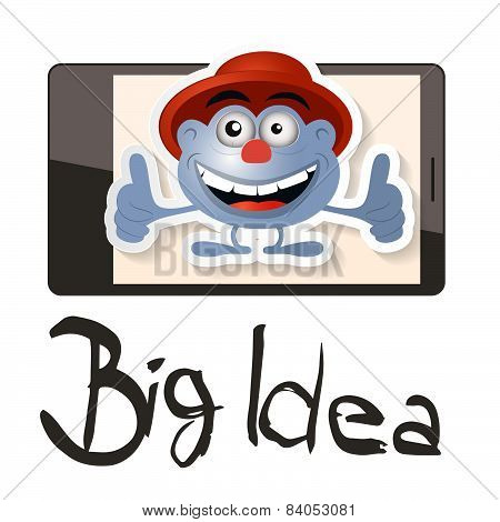 Big Idea Vector Illustration with Funky Man - Avatar on Cell Phone