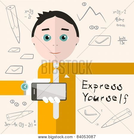 Express Yourself Vector Illustration with Man - Student or Business Man