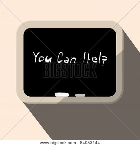 You Can Help Slogan - Title on Blackboard Vector Illustration