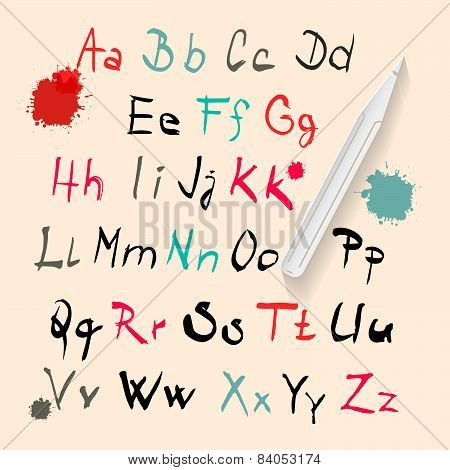 Funky Vector Hand Written Alphabet Set Isolated on Retro Paper Background