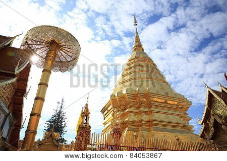 Wat Phrathat Doi Suthep Is One of Chiangmai's Most Beautiful Temples and A Tourist Attraction. (Nort