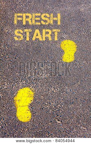 Yellow Footsteps On Sidewalk Towards Fresh Start Message