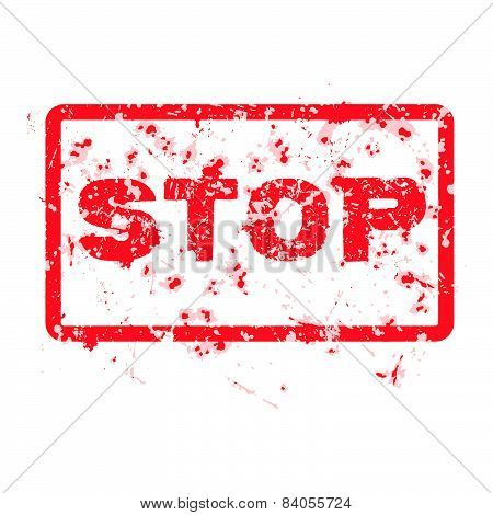 Stop Grunge Rubber Stamp