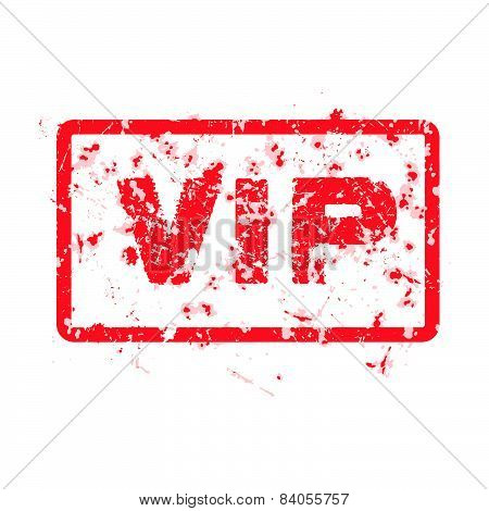 Word Vip Red Grunge Stamp