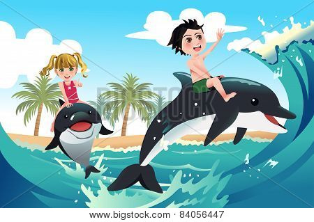 Happy Children Playing With Dolphins In The Ocean