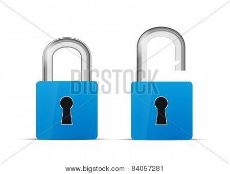 Opened and closed blue realistic lock icon isolated