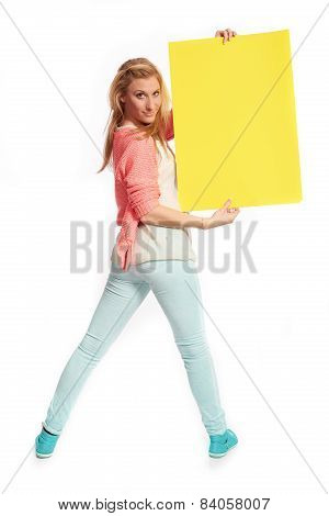 Young Woman With Funky Yellow Sign