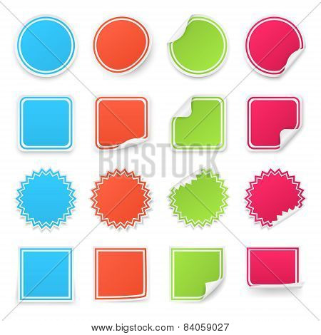 Set of different colorful stickers. Isolated on white background