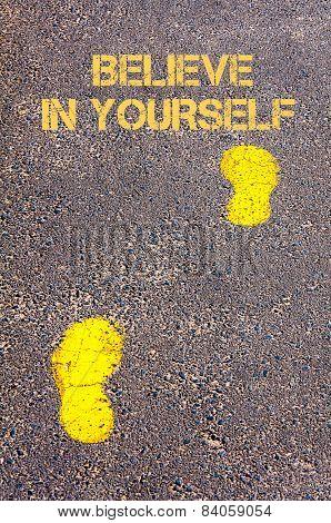 Yellow Footsteps On Sidewalk Towards Believe In Yourself Message