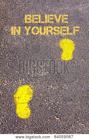 Yellow Footsteps On Sidewalk Towards Believe In Yourself Message