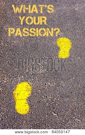 Yellow Footsteps On Sidewalk Towards Whats Your Passion Message