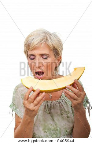 Senior Female Biting Melon