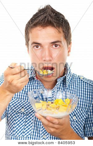 Young Male Eating  Cereals