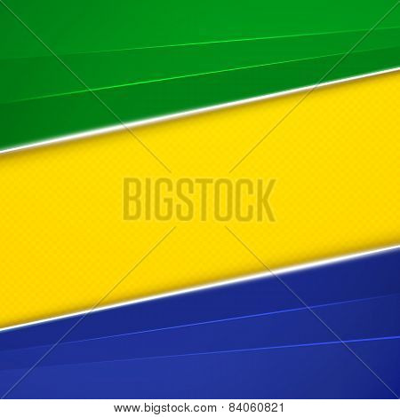 Abstract geometric background with Brazil flag colors. Vector illustration