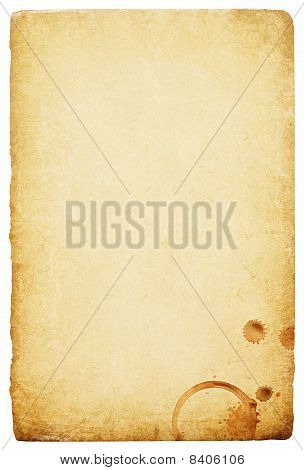 Vintage Paper With Coffee Rings Stain. Abstract Bisolated Background With Space For Text.