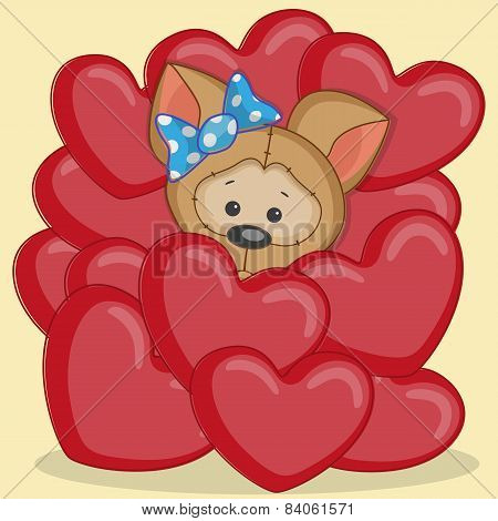 Puppy In Hearts