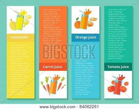 Fruit smoothie collection. Menu element for cafe or restaurant with energetic fresh drink made in fl