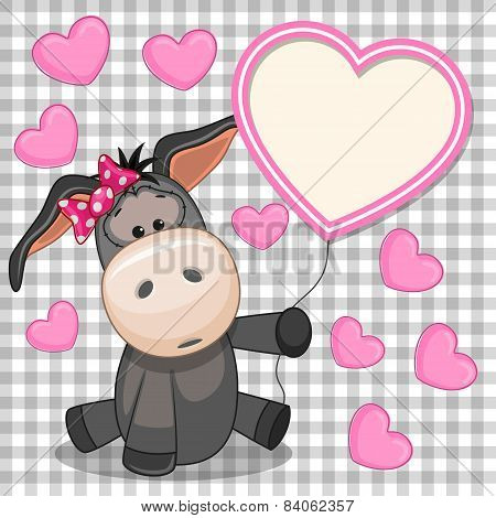 Girl Donkey With Pink Heart Frame